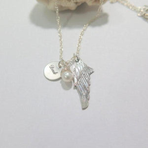 Custom Charm Necklace, Silver Wing Pendant & Disc, Memorial Jewelry - Viyoli Jewelry Designs