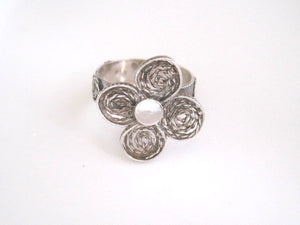 Sterling Silver Filigree Ring, Oxidized Texture, Unique Size US 8.75 - Viyoli Jewelry Designs