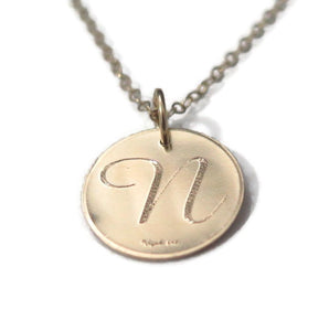 Custom Engraved Necklace, Gold Monogram Pendant, Letter Disc Jewelry - Viyoli Jewelry Designs