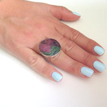 Statement Ruby Zoisite ring in Sterling Silver, A Gift for Everyday - Viyoli Jewelry Designs