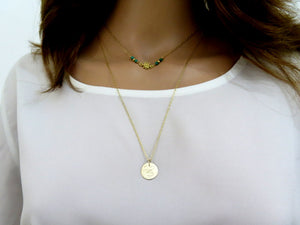 Layering Necklace Set, Infinity Knot and Engraved Disc in Gold - Viyoli Jewelry Designs