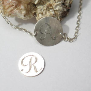 Dainty Feminine Silver Sterling Silver Necklace, Initial Disc Choker - Viyoli Jewelry Designs