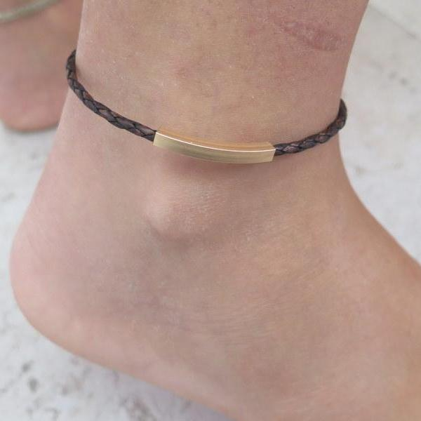 Leather Bracelet, Thin Leather Anklet, Brown Bracelet, Curve Tube Bracelet - Viyoli Jewelry Designs