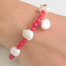 Silver Gemstone Bracelet, Pearl Coral Beaded, Red White Summer Jewelry - Viyoli Jewelry Designs