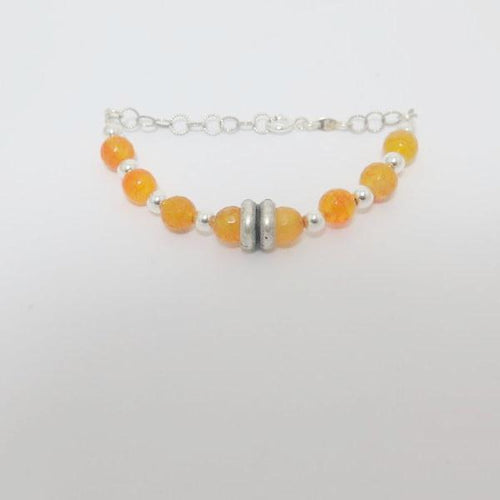 Silver Orange gemstone Bracelet, Gift for Her, Summer Color Bracelet - Viyoli Jewelry Designs
