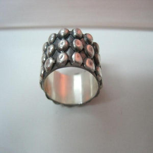 Dotted Silver Ring, Oxidized Wide, Everyday Sterling Silver Jewelry - Viyoli Jewelry Designs