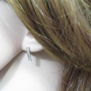 Sterling Silver Bar Stud Earrings, Rectangle Tiny and Simple Jewelry - Viyoli Jewelry Designs