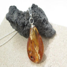 Amber in Silver Necklace, Healing Pendant, Unique Gift Jewelry - Viyoli Jewelry Designs