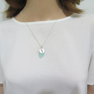 Aqua Chalcedony Dainty Necklace, Bridesmaid Gift, Engraved Silver Disc - Viyoli Jewelry Designs