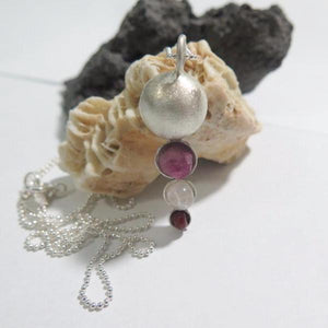 Long Silver Necklace, Bowl Gemstone Pendant, Silver Layered Jewelry - Viyoli Jewelry Designs