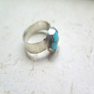 Silver Turquoise Band, Hammered Ring Size 7.5, Birthstone Jewelry - Viyoli Jewelry Designs