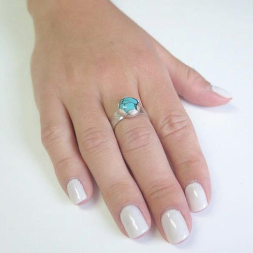 Silver Turquoise Band, Ring Size 7.5, Birthstone, Turquoise Jewelry - Viyoli Jewelry Designs