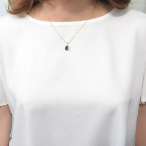 Amethyst Tear drop Pendant, Purple Tiny Necklace, Birthstone Necklace - Viyoli Jewelry Designs
