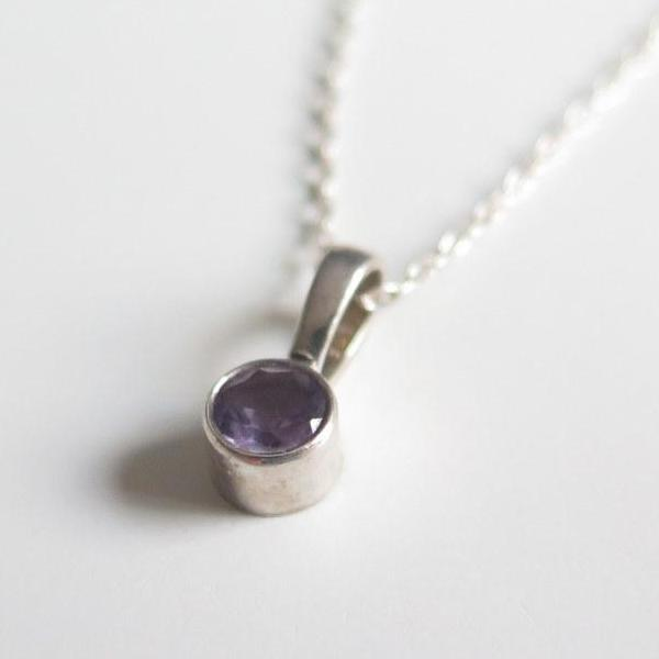Petite Solitaire Pendant, Amethyst Silver Necklace, Single Stone - Viyoli Jewelry Designs