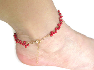 Coral Bracelet, Chic Anklet, Dainty Red Gift, Women Gift, Red Jewelry - Viyoli Jewelry Designs