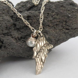Silver Memorial Necklace, Personalized Pendant with Wing and Gemstone - Viyoli Jewelry Designs