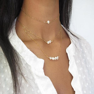 Simple Pearl Gold Choker, Dainty Layered Necklace, Bridesmaid Gift - Viyoli Jewelry Designs