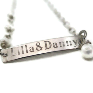 925 Name Bracelet, Freshwater Pearl Personalized, Engraved, Bar Plate