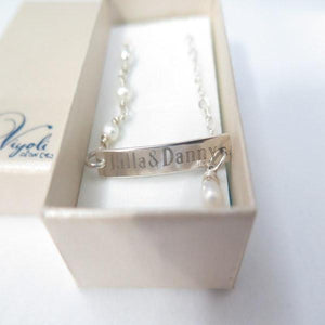 925 Name Bracelet, Freshwater Pearl Personalized, Engraved, Bar Plate - Viyoli Jewelry Designs