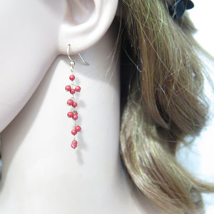 Coral Earring, Red Dangle Long, Gemstone Jewelry, Woman Gift Idea