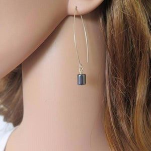 Hematite Stone Earrings, Dangle Black Jewelry, Minimalist for Everyday - Viyoli Jewelry Designs