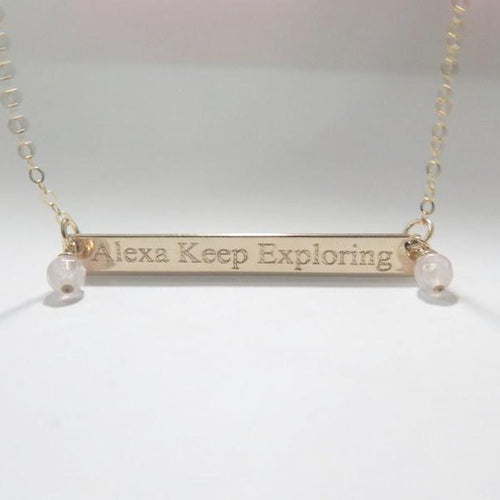 Long Bar Necklace, Custom Name Plate, Bridesmaid Gift, Women Jewelry - Viyoli Jewelry Designs