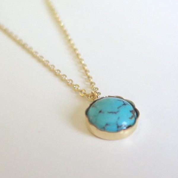 Turquoise Necklace in 14 K Gold Filled, Dainty Minimalist Pendant - Viyoli Jewelry Designs