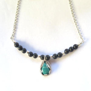Turquoise and Onyx Jewelry,Black Blue Necklace, Woman Elegant Gift - Viyoli Jewelry Designs
