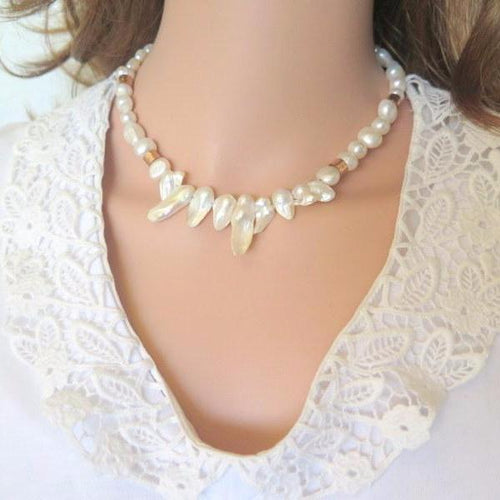 Wedding Necklace, White Bridal, Keishi Pearls, Pearl Beaded Jewelry - Viyoli Jewelry Designs