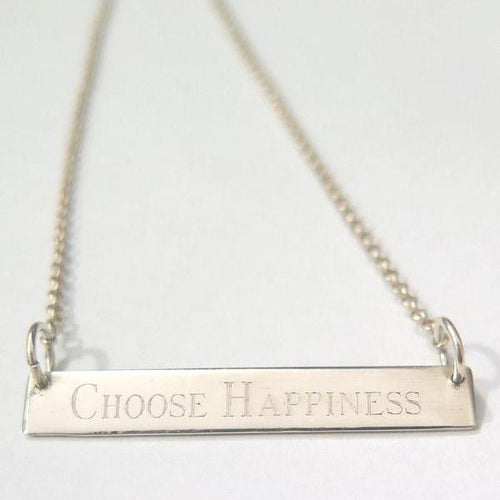 Meaningful Silver Bar Necklace, Positive Inspiration Jewelry, Gift for