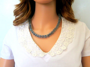 Sterling Lava Bead Necklace, Elegant Gift for Mom, Silver Knit Jewelry - Viyoli Jewelry Designs