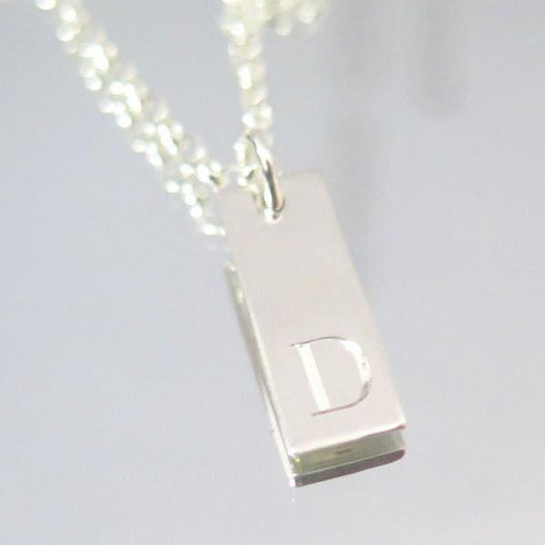 Initial Tag Necklace, Silver Custom Jewelry, Minimalist Gift For Him