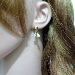 Stud and Dangle with Pearls, Delicate Earrings, Bridesmaid Gift Jewelry - Viyoli Jewelry Designs