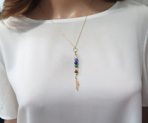 Chakra Gemstone Necklace in Gold, Karma Pendant, Long Colorful Jewelry