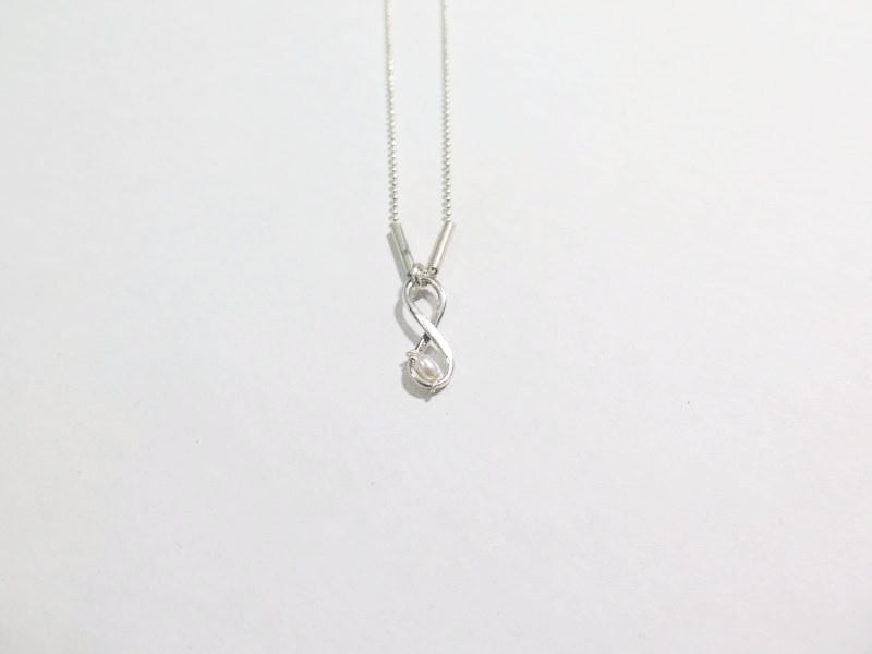 Silver Eternity And Freshwater Pearl Figure 8 Necklace Best
