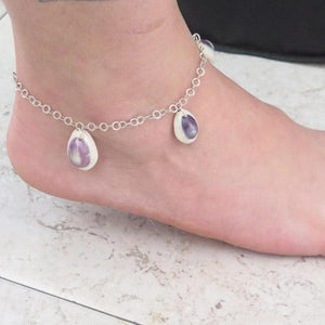 Delicate Seashell in Silver, Summer Beach Anklet, Gift Idea for Women