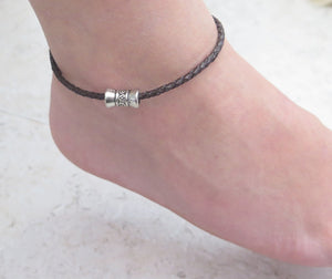 Brown Braided Leather Anklet, Summer Gift for Her, Special Sale - Viyoli Jewelry Designs