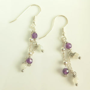 Silver Sterling Long Earring, Purple White Jewelry, Gift for Everyday