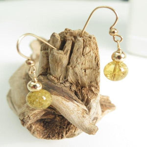 Dangle Citrine Earring, Stone in Gold Ear Wire, Yellow Simple Jewelry