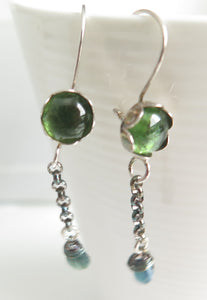 Green Tourmaline Earring, Gemstone Dangle Jewelry, Unique Gift for Her