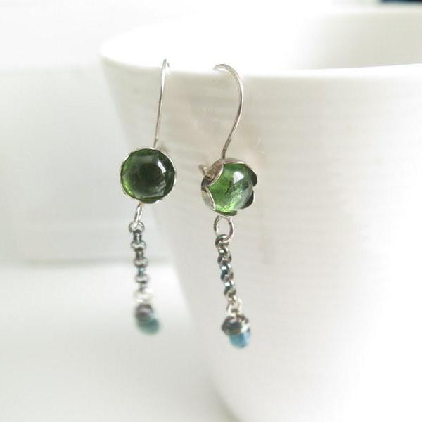 Green Tourmaline Earring, Gemstone Dangle Jewelry, Unique Gift for Her - Viyoli Jewelry Designs