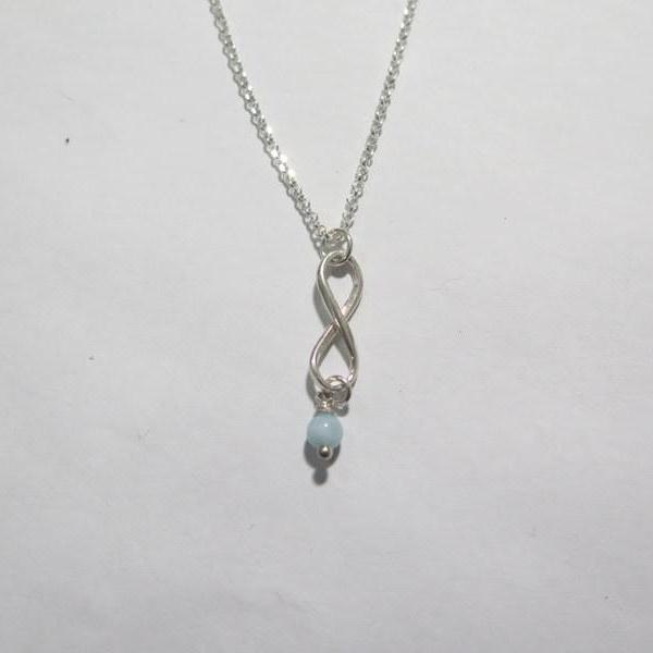 Infinity Necklace in Silver with a Birthstone, The Figure 8 Pendant - Viyoli Jewelry Designs
