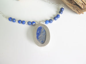 Silver Blue Statement Necklace, Lapiz Lazuli Jewelry, Mom Gift