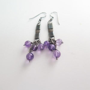 Amethyst and Silver, Unique Modern Earrings, Statement Long Jewelry