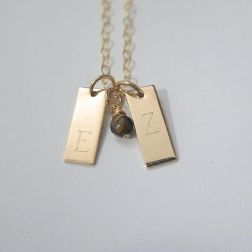 Small Tag Pendant, Vertical Initial Necklace, Personalized Custom Gift - Viyoli Jewelry Designs
