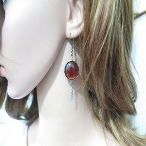 Silver Oxidized Earrings, Dangle Gemstone and Feather, Agate Jewelry