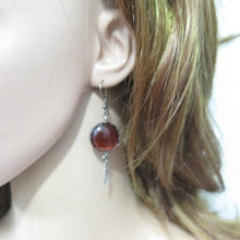 Silver Oxidized Earrings, Dangle Gemstone and Feather, Agate Jewelry - Viyoli Jewelry Designs