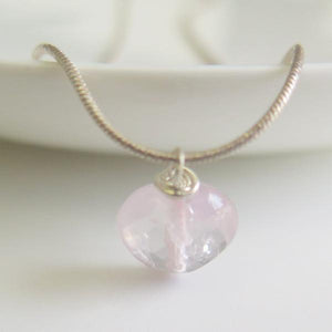 Rose Quartz Pendant, Heart Necklace, Stone Of Love, Girls Gift Ideas - Viyoli Jewelry Designs