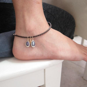 Leather Anklet for Women, Braided Bracelet, Summer Seashell Jewelry - Viyoli Jewelry Designs