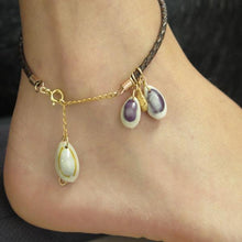 Leather Anklet for Women, Braided Bracelet, Summer Seashell Jewelry